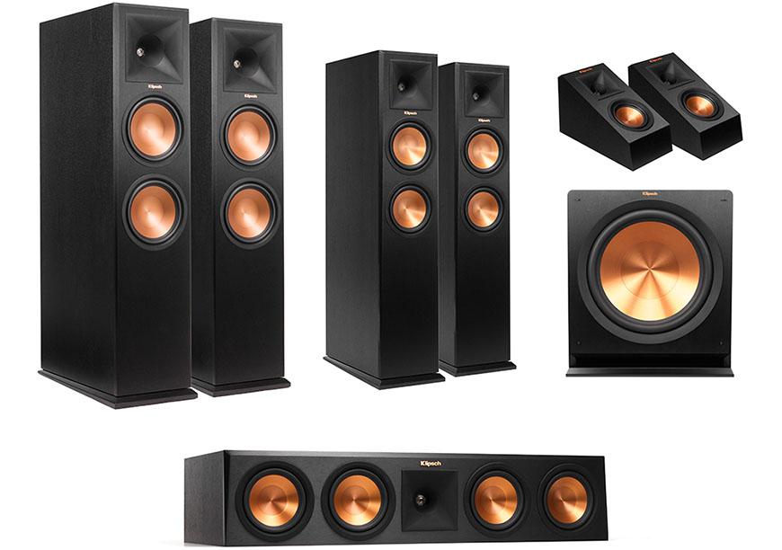 Bo dan RP-280 5.1.4 Dolby Atmos trong do loa Klipsch RP-450 CA la loa center